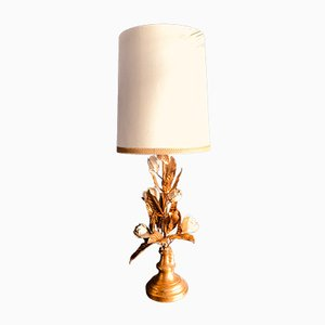 Large Italian Gilt Metal and White Enamel Table Lamp, 1960s