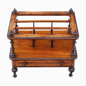 Antique Victorian Burr Walnut Magazine Rack, 1870s