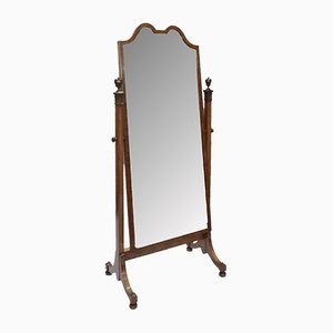 Antique Edwardian Sheraton Revival Satinwood Standing Mirror from Waring & Gillows