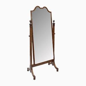 Espejo de maquillaje Sheraton Revival antiguo de madera satinada de Waring & Gillows