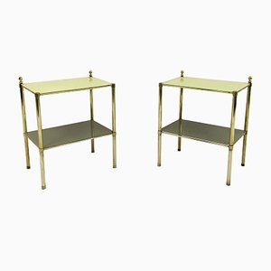 Italian Brass and Yellow Glass Side Tables, 1970s, Set of 2
