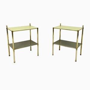 Italienische Beistelltische aus Messing & gelbem Glas, 1970er, 2er Set