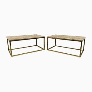 Tables Basses Vintage en Laiton et Marbre, années 70, Set de 2