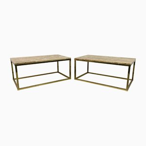 Vintage Brass and Marble Coffee Tables, 1970s, Set of 2