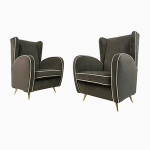 Mid-Century Italian Grey Velvet Armchairs, 1950s, Set of 2