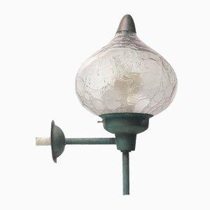Vintage Wandlampe aus patiniertem Kupfer & Glas