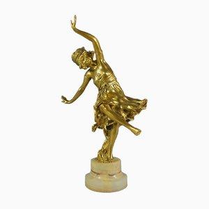 Escultura de bailarina de bronce de Charlotte Monginot, años 20