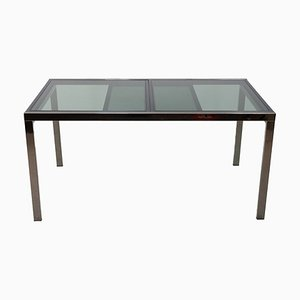 Smoked Glass Extendable Dining Table by Milo Baughman, 1972