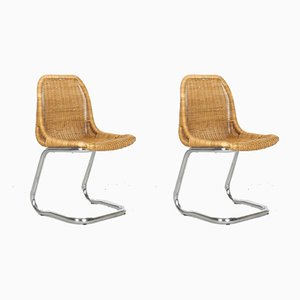Rattan Dining Chairs by Dirk van Sliedregt for Rohé Noordwolde, 1960s, Set of 2