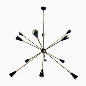 Lámpara de techo Sputnik italiana Mid-Century de latón de Stilnovo, 1956