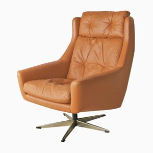 Mid-Century Danish Leather Swivel Lounge Chair, 1960s