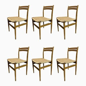 Mid-Century Maple and Straw Dining Chairs, 1950s, Set of 6