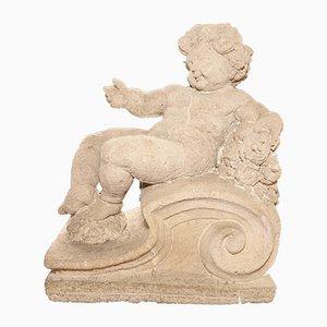 Figura de ángel italiana antigua de piedra