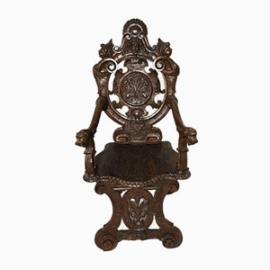 Silla de comedor italiana de madera tallada, siglo XVIII