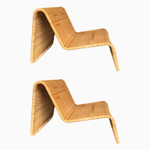 Rattan Model P3 Chaise Lounges by Tito Agnoli for Pierantonio Bonacina, 1960s, Set of 2