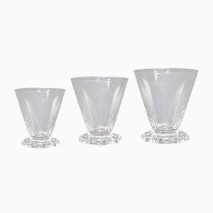 Bicchieri Quincy in vetro di R. Lalique, anni '30, set di 26