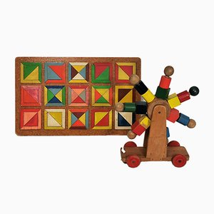 Mid-Century Dutch Wooden Toys from Den-Haag, 1950s, Set of 2