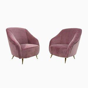 Butacas italianas de terciopelo rosa, años 50. Juego de 2