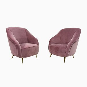 Italian Pink Velvet Armchairs, 1950s, Set of 2
