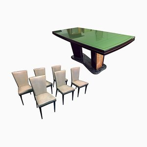Italienischer Mid-Century Esstisch & Stühle aus Palisander von Vittorio Dassi, 1950er, 8er Set