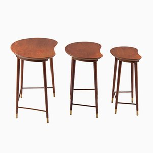 Mid-Century Scandinavian Teak and Brass Nesting Tables, 1950s