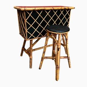Mueble bar pequeño de ratán, años 50