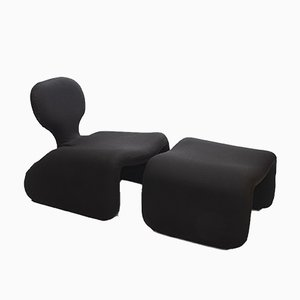 Black Djinn Lounge Chair & Ottoman Set by Olivier Mourgue for Airborne, 1960s