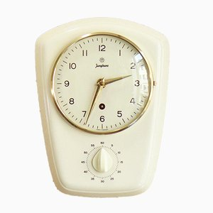 Mid-Century White Kitchen Clock from Junghans