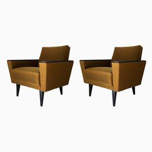 Senfgelbe Sessel, 1950er, 2er Set