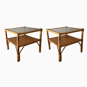 Rattan and Smoked Glass Side Tables, 1970s, Set of 2