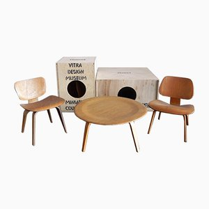 Miniature Chair and Table Set by Charles & Ray Eames for Vitra, 1990s, Set of 3