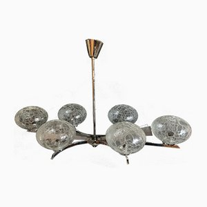 Mid-Century French Silver-Chrome Ceiling Lamp