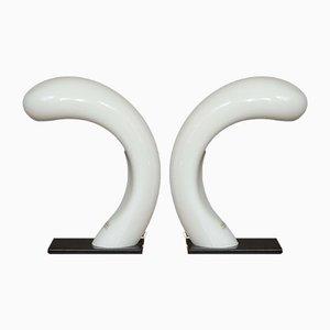 Lámparas de mesa Cobra de cristal de Murano de Effetre International, años 60. Juego de 2