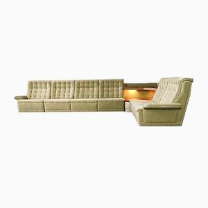 Sofá de terciopelo modular y mesa auxiliar, años 60. Juego de 7