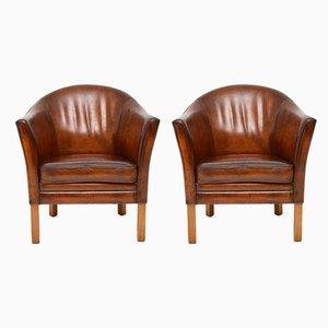 Danish Leather Armchairs by Mogens Hansen, 1960s, Set of 2