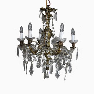 Antique French Louis XV Gilt Bronze and Cut Glass Chandelier