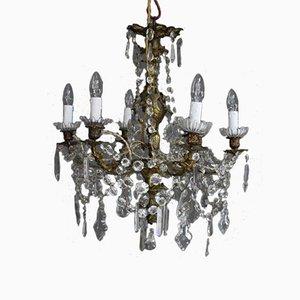 Lámpara de araña Luis XV francesa antigua de bronce dorado y vidrio tallado