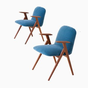 Blue Velvet and Teak Armchairs, 1950s, Set of 2