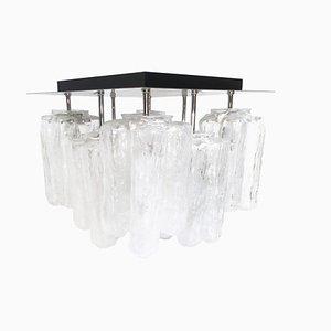 Lámpara de techo Granada de cristal hielo de Kalmar, años 60