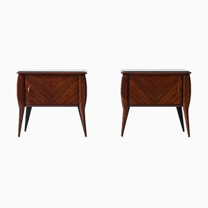 Italian Rosewood and Glass Nightstands, 1950s, Set of 2