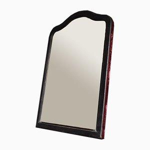 Antiker französischer Spiegel mit Rahmen aus ebonisiertem Holz & Samt