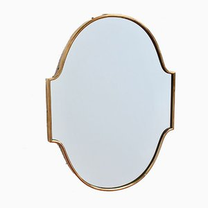 Small Italian Brass-Framed Wall Mirror, 1950s