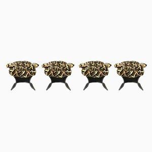 Vintage Modell Venus Esszimmerstühle aus Korbgeflecht von Pieff, 4er Set