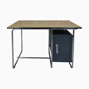 Schreibtisch mit verchromtem Stahlrohrgestell & Tischplatte aus Bergahorn, 1960er