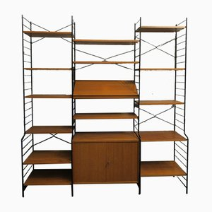 Mid-Century Modular Teak and Black Metal Shelving Unit Set