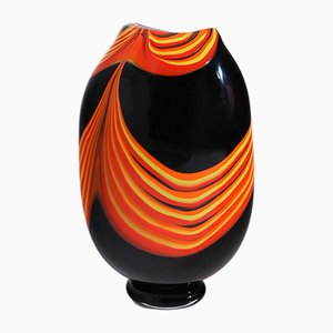 Italian Black Glass Vase by Paolo Crepax, 1980s