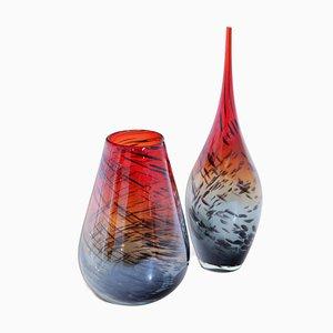 Vases en Verre de Murano par Carlo Moretti, Italie, années 80, Set de 2