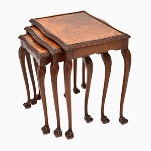 Burr Walnut Nesting Tables, 1920s, Set of 3