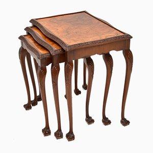 Tables Gigognes en Ronce de Noyer, années 20, Set de 3