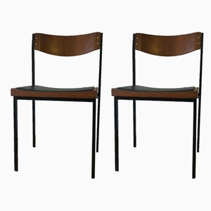 Teak and Metal Stacking Chairs, 1960s, Set of 2